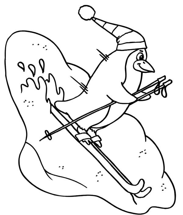 Penguins, : This Penguin is Playing Skii During Winter Coloring Page