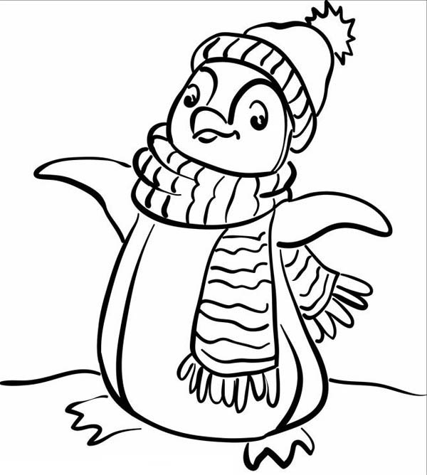 Penguins, : This Penguin is Showing Her Winter Outfit Coloring Page