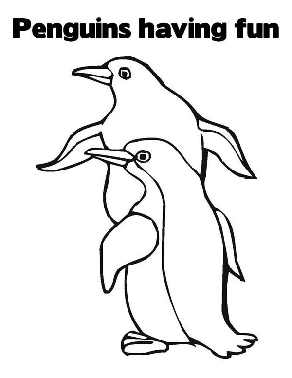 Penguins, : This Two Penguins are Having Fun Together Coloring Page