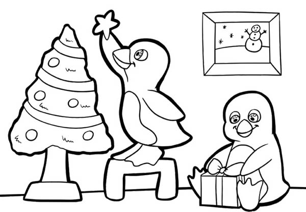 Penguins, : Two Cute Baby Penguins Preparing for Christmas Coloring Page