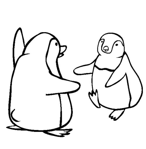 Penguins, : Two Happy Penguins are Hugging Each Other Coloring Page