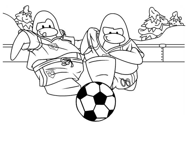 Penguins, : Two Penguins Playing Soccer on the Frozen Lake Coloring Page