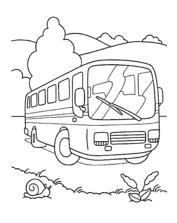 School Bus, : Using a School Bus for School Field Trip Coloring Page