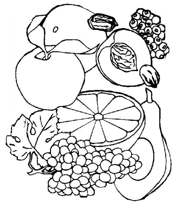 Fruits and Vegetables, : Various Kind of Healthy Fruits Coloring Page
