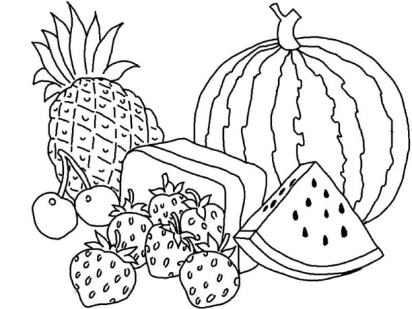 Fruits and Vegetables, : Various Types of Fruits Coloring Page