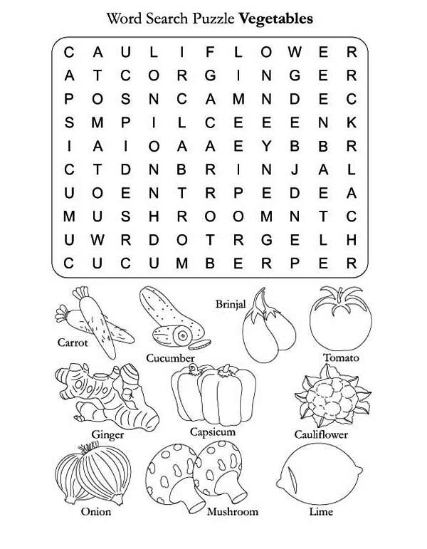 Fruits and Vegetables, : Word Search Sheet for Vegetables Coloring Page