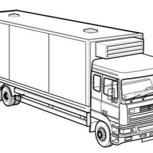 box truck coloring page - Semi Truck Trailer Coloring Pages