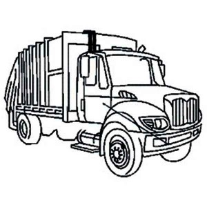 city garbage truck on dump truck coloring page