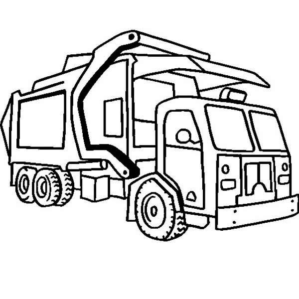 Trucks, : compressing-garbage-truck-on-dump-truck-coloring-page.jpg