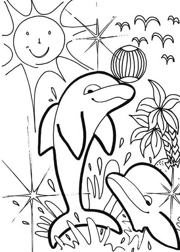 Dolphin, : dolphin-summer-beach-party-coloring-page.jpg
