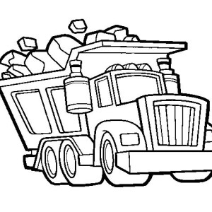 dump truck loaded wit tons of rocks coloring page