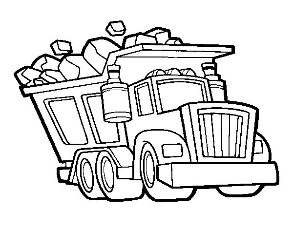 Trucks, : dump-truck-loaded-wit-tons-of-rocks-coloring-page.jpg