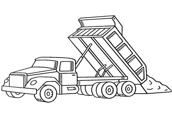 Trucks, : dumping-dirt-dump-truck-coloring-page.jpg