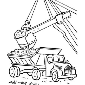 excavator moving coal to a dump truck coloring page