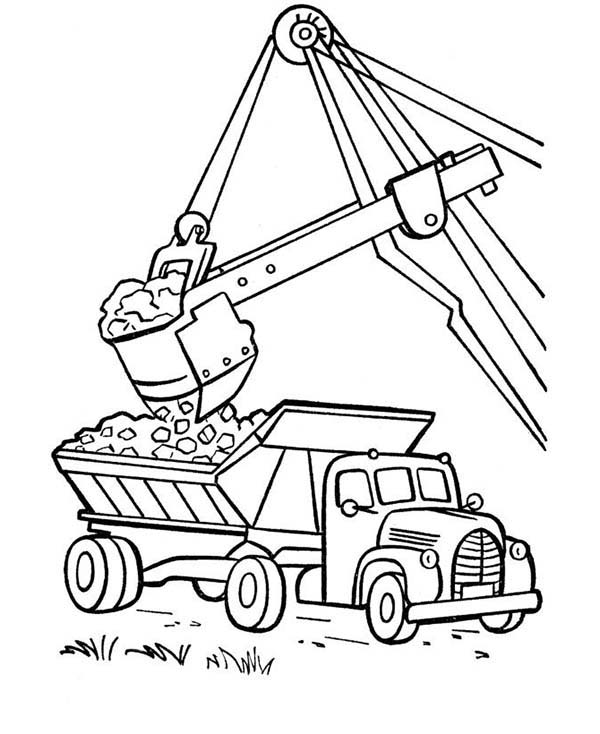 Trucks, : excavator-moving-coal-to-a-dump-truck-coloring-page.jpg