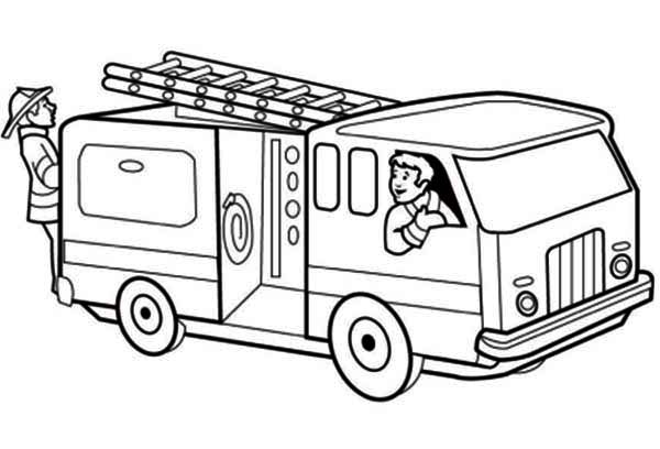 fire truck getting ready on emergency call coloring page kids - Ambulance Coloring Pages Kids