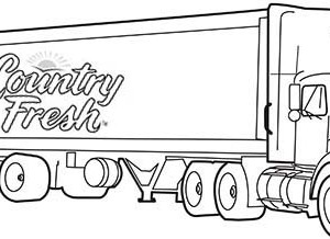 long trailer truck delivering fresh goods coloring page