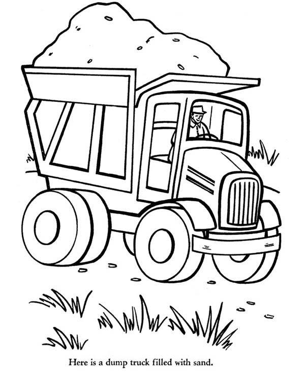 Trucks, : old-dump-truck-fully-loaded-with-sand-coloring-page.jpg
