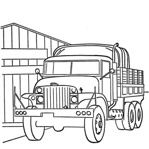 old war truck on dump truck coloring page