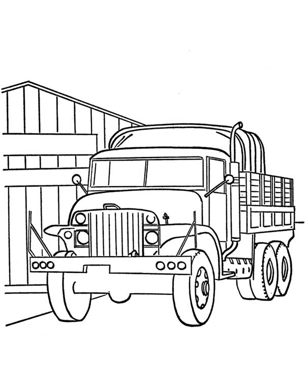 Trucks, : old-war-truck-on-dump-truck-coloring-page.jpg