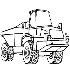 semi trailer dump truck ready to work coloring page