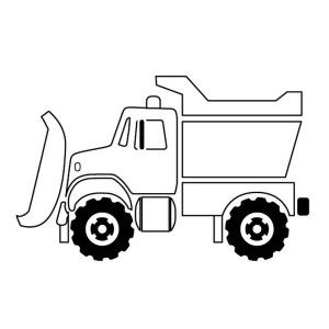 snow plow truck on dump truck coloring page