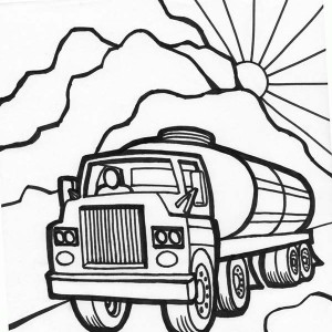 tanker truck starts working in the morning coloring page
