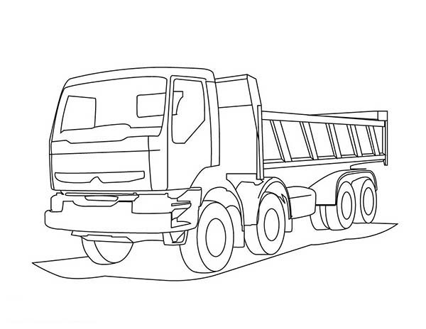 Trucks, : trailer-dump-truck-coloring-page.jpg