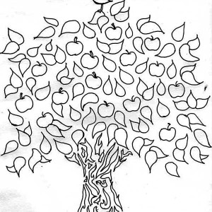 A Bird And An Apple Tree Coloring Page