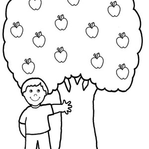 A Boy And His Apple Tree Coloring Page