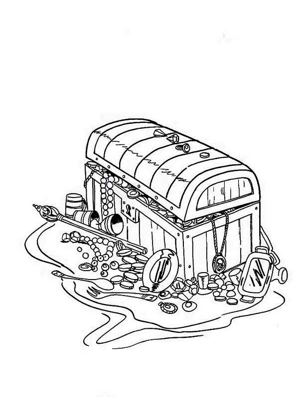 Treasure Chest, : A Classic 16th Century Chest Full of Treasures Coloring Page