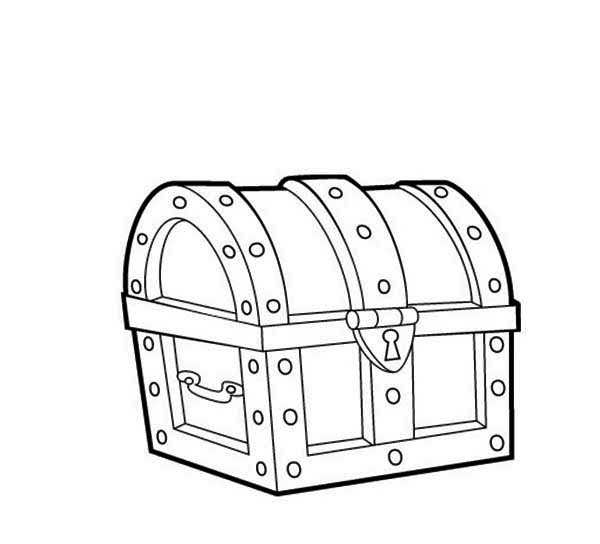 Treasure Chest, : A Classic 16th Century Closed Treasure Chest Coloring Page