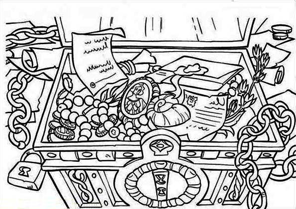 Treasure Chest, : A Classic Treasure Chest from Colonial Time Coloring Page