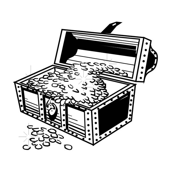 Treasure Chest, : A Classic Treasure Chest with Piles of Gold Coins Coloring Page