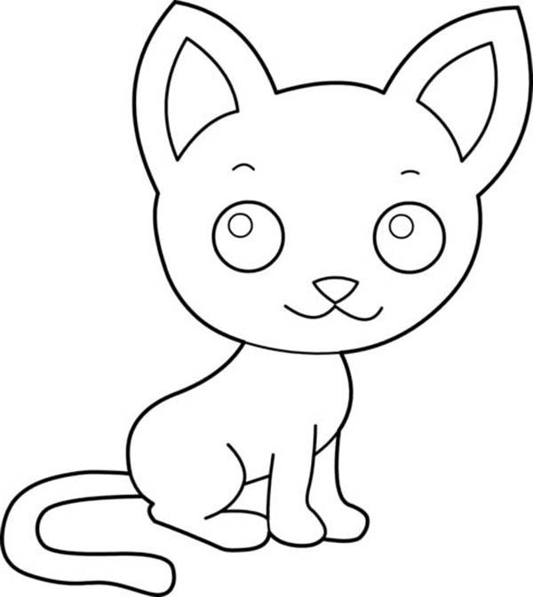 Kitty Cat, : A Cute Kitty Cat with a Big Ears Coloring Page