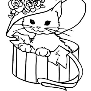a cute kitty cat with a fancy hat coloring page