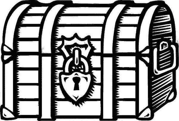 Treasure Chest, : A Drawing of Locked Treasure Chest Coloring Page