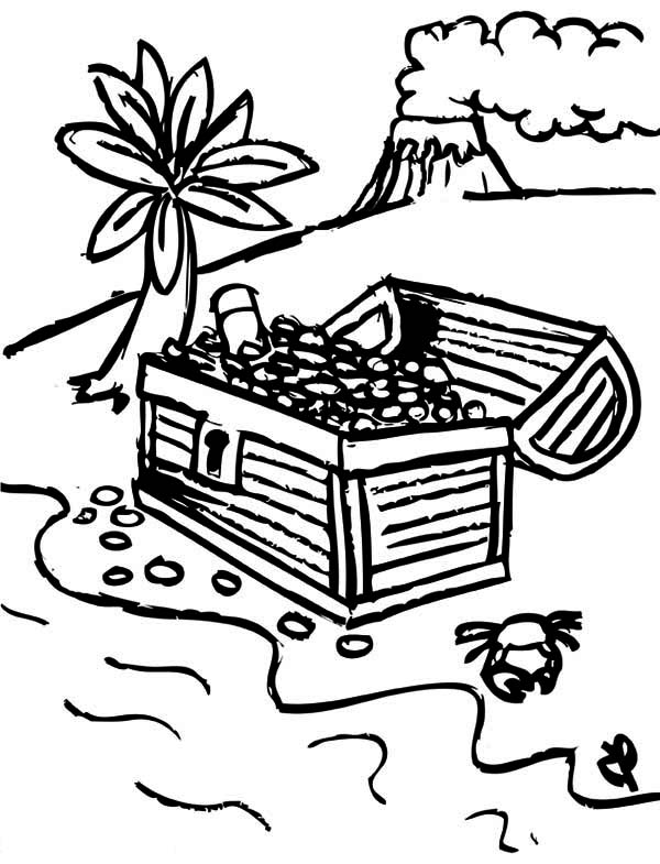 Treasure Chest, : A Drawing of Pirate Treasure Chest in Tropical Island Coloring Page