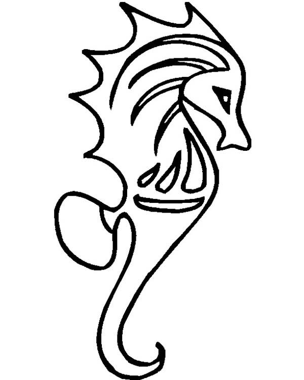 Seahorse, : A Drawing of Seahorse in Art Graphic Style Coloring Page