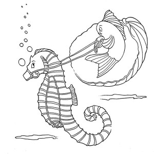 a funny fish riding seahorse coloring page