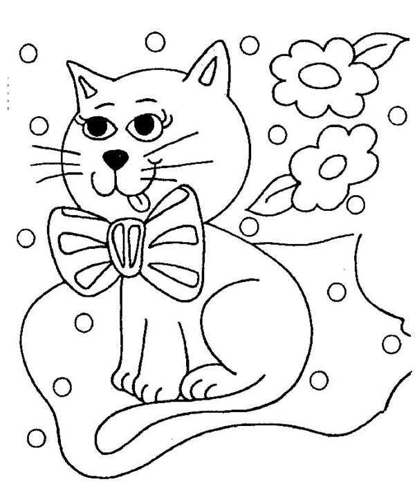 Kitty Cat, : A Gorgeous Kitty Cat Winning the Competition Coloring Page