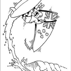 a great surfing in bondi during australia day coloring page