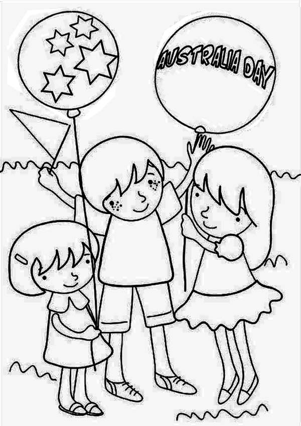 Australia Day, : A Group of Kids Celebrating Australia Day Coloring Page