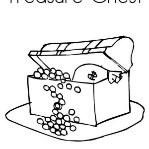 a kids drawing of treasure chest coloring page - Open Treasure Chest Coloring Page
