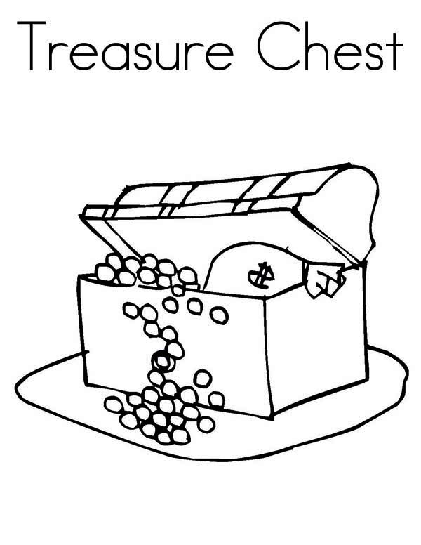 Treasure Chest, : A Kids Drawing of Treasure Chest Coloring Page