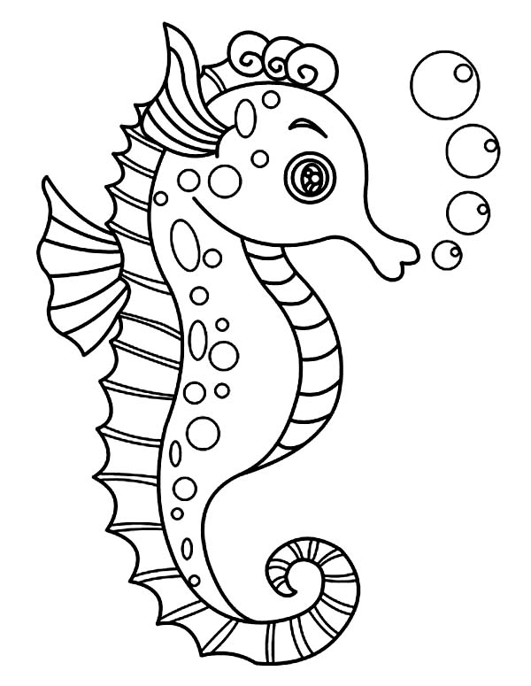 Seahorse, : A Lovely Seahorse with Lots of Bubble Coloring Page
