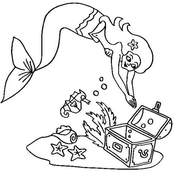 a mermaid and an empty treasure chest coloring page
