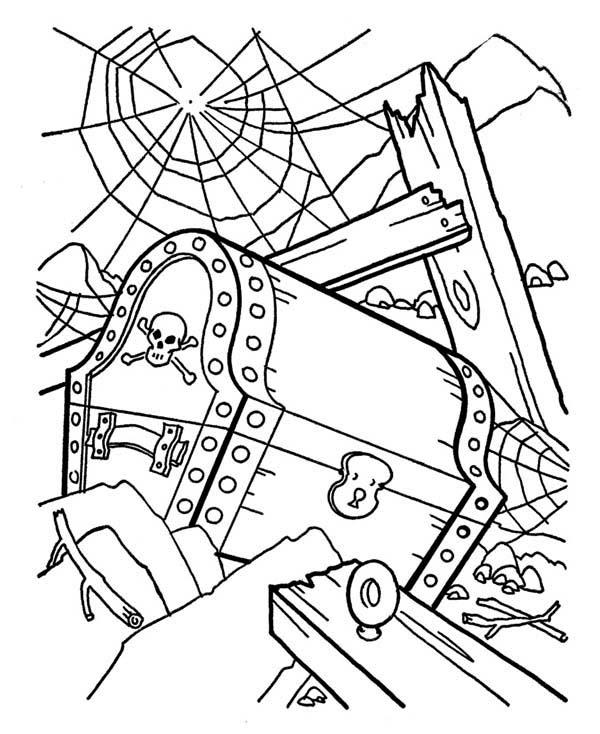 Treasure Chest, : A Pirate Treasure Chest in a Shipwreck Coloring Page