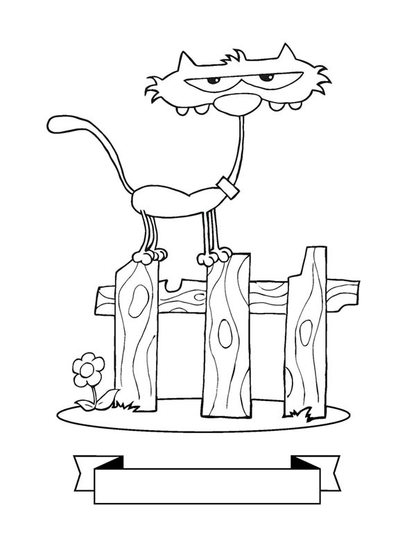Kitty Cat, : A Really Skinny Kitty Cat on the Fence Coloring Page