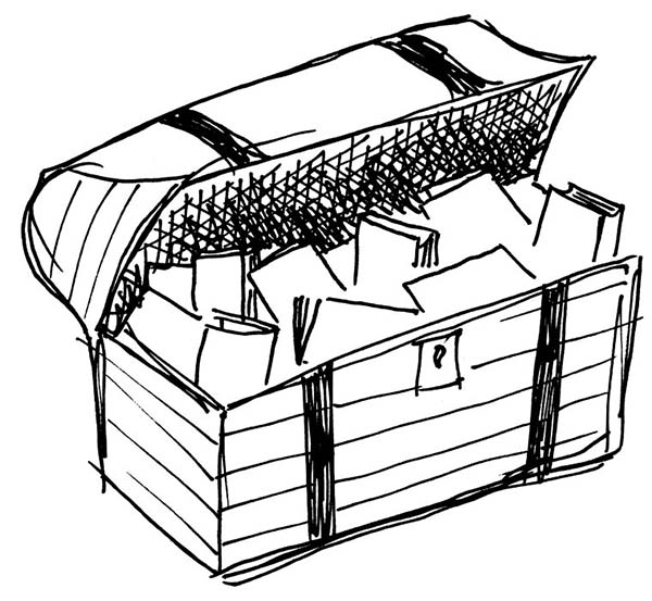 Treasure Chest, : A Rough Sketch of Treasure Chest Coloring Page